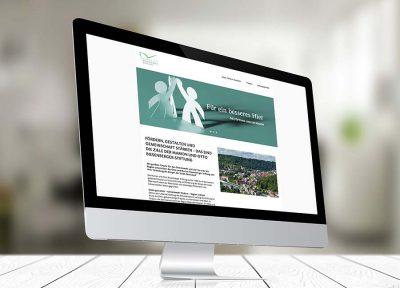 Marion und Otto Biesenberger Stiftung Website auf Computermonitor